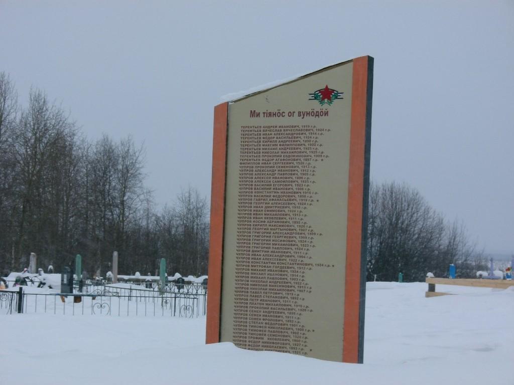 Памятник участникам войны на кладбище Сизябска.